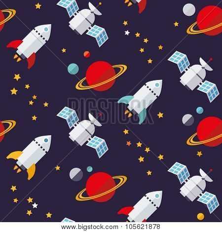 Seamless Space Background Pattern. Flat design seamless space objects pattern