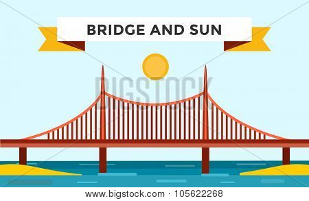 Modern bridge vector illustration. Vector bridge silhouette. Outdoor travel background. Travel bridge vector construction. Bridge construction, fast river, travel, transportation
