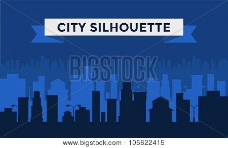 Vector cities silhouette. Dark cities silhouette. Cities silhouette small town, cityscape buildings. City silhouette, city vector illustration. Skyscrapers silhouette. Business center city