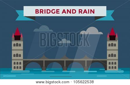 Tower bridge vector illustration. Night bridge silhouette. Smoke, rain, night, cloudy, fog, river outdoor background. Travel bridge vector illustration. Bridge construction, fast river, tower bridge