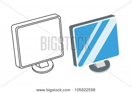 Computer monitor isolated. Computer icon vector illustration. Computer isolated, computer silhouette. Computer PC, computer monitor, computer vector, computer icon, Computer monitor isometric view