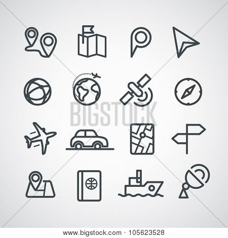 Different transportation icons collection. Vector clip-art