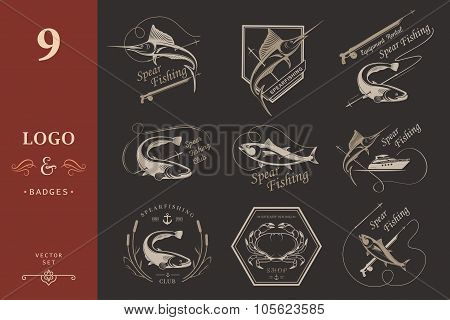Big Set Of Logos, Badges And Icons Spearfishing