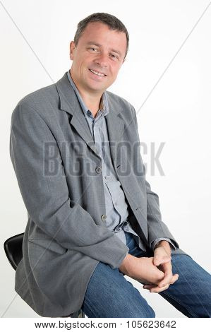 Charming And Handsome Man With Casual Jacket Isolated