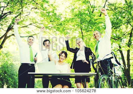 Business People Hands Raised Environmental Concept
