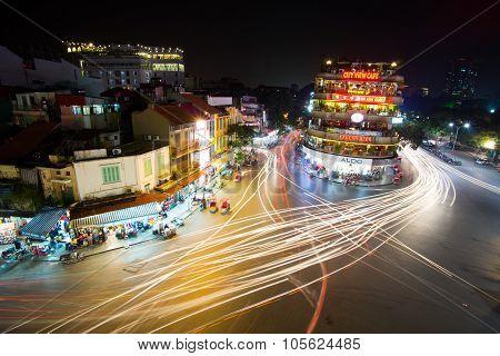 Hanoi old quarter at night.