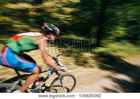 Abstract motions blur background - mountain Bike cyclist riding