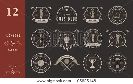 Vector Set Of Logo And Icons Golf Clubs