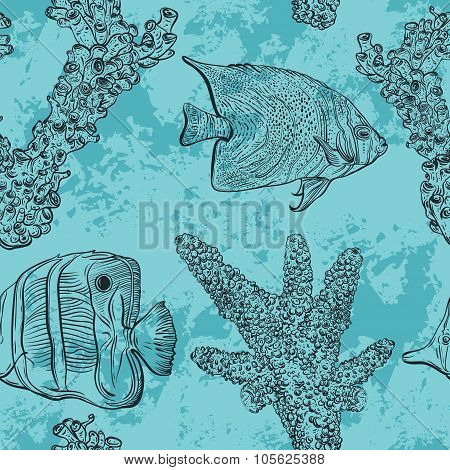 Seamless pattern with tropical fish, marine plants and corals. Vintage hand drawn vector illustratio