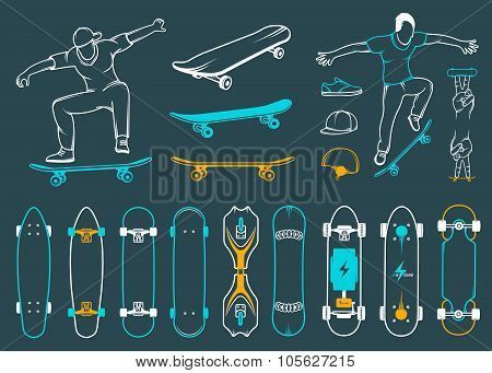 Set Of Skateboards, Equipments Of Street Style