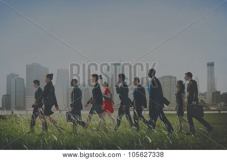 Business People Walking Rushing Hurry Commuter Concept