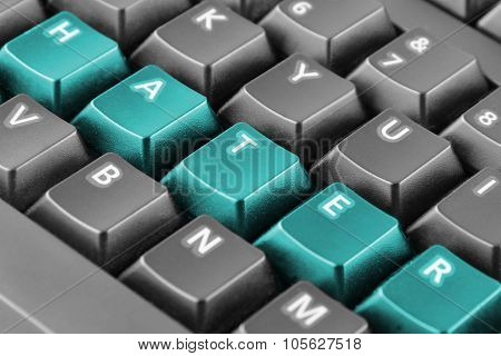 Word Hater Written With Blue Keyboard Buttons