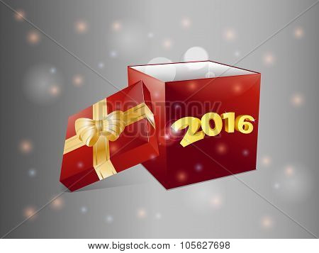Gift Box 2016 Over Glowing Background