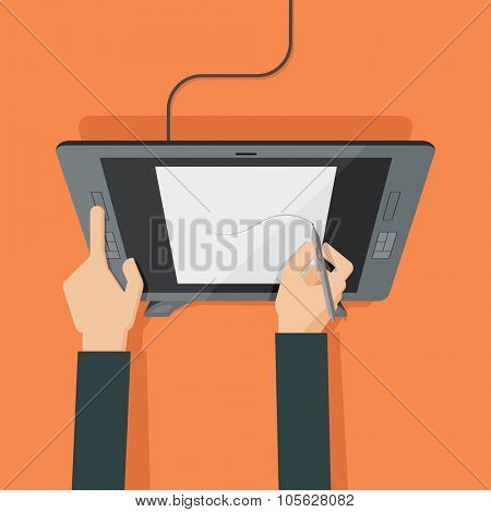 Hands drawing on graphic tablet. Vector illustration