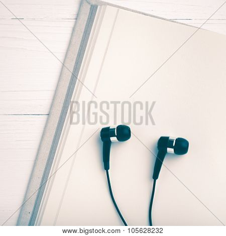 Notebook And Ear Phone Vintage Style