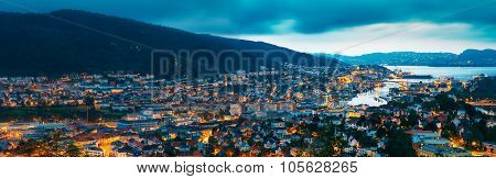 Aerial panoramic view Cityscape of Bergen and harbor from mounta