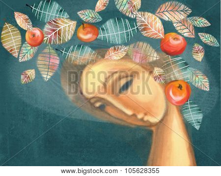 Beautiful Autumn Girl With Wreath Of Leaves And Red Apples.