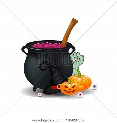 Halloween Cartoon, Symbols Composition. Vector Objects Arrangement, Pumpkins, Witch Hat, Cauldron, A