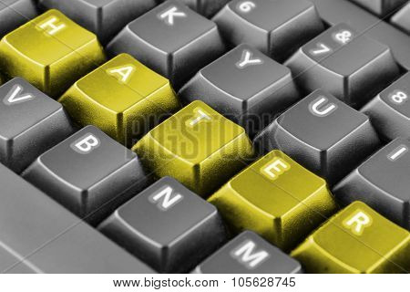 Word Hater Written With Yellow Keyboard Buttons