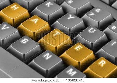Word Hater Written With Orange Keyboard Buttons