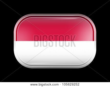 Flag Of Indonesia. Rectangular Shape With Rounded Corners