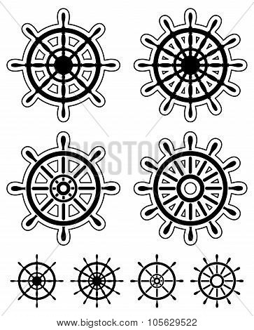 Set of ship steering wheels