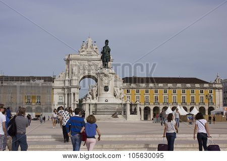 People Walking In Lisbon Commercial Square