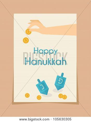 hanukkah game . hand spining dreidel