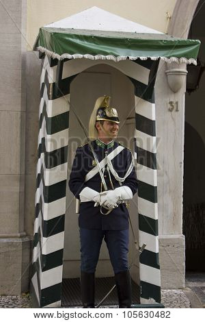 Guard Smiling In Front Of The National Republican Guard In Lisbon