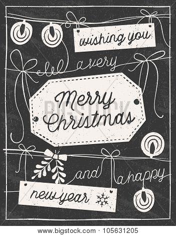 Hand Drawn Chalkboard Christmas Card