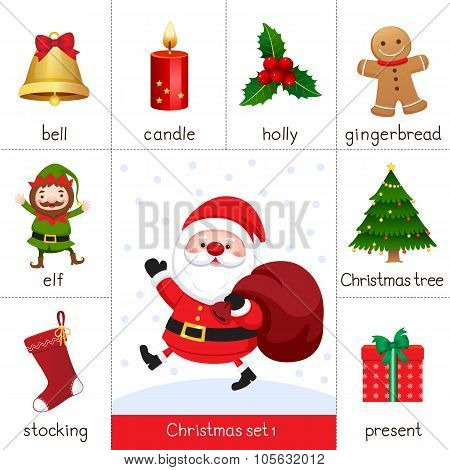 Printable Flash Card For Christmas Set And Santa Claus