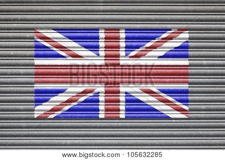 Uk Flag On Metal Shutter
