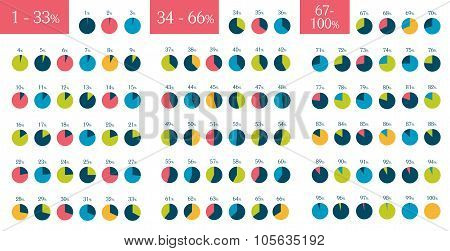 Mega Set Of Infographic Percentage Circle Pie Charts. 1 % To 100 %.