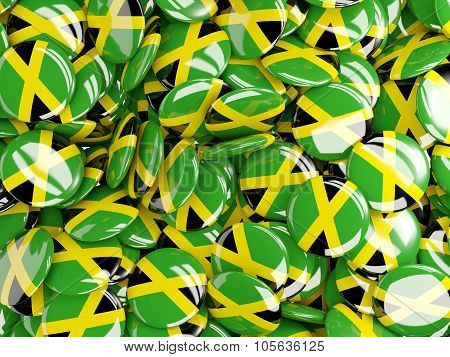 Background With Round Pins With Flag Of Jamaica