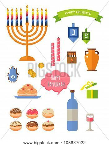 Various symbols and items of hanukkah celebration flat icons set isolated vector illustration. Hebre