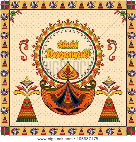 illustration of Happy Diwali background with diya and firecracker with message Shubh Deepawali (Happy Diwali)