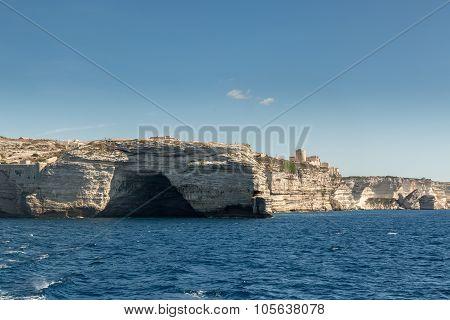 Cave In The White Cliffs Below Bonifacio In South Corsica