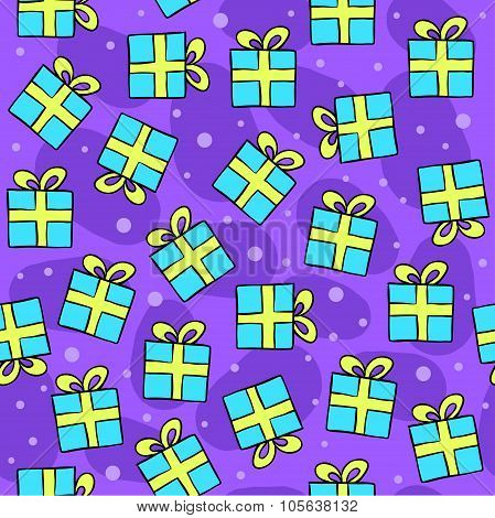 Seamless vector pattern with gifts