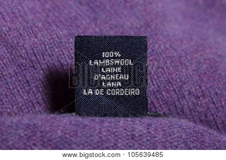 purple clothes tag