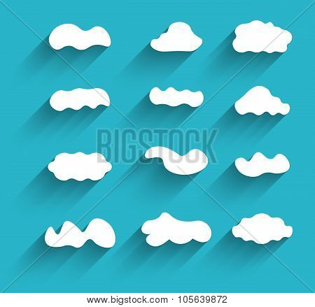 Hand-drawn Cloudscapes Collection. Long Shadows