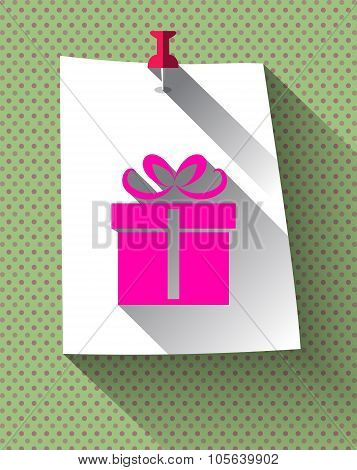 Gift Box Sign On Sticky Paper Attached With Pin On Pattern Back