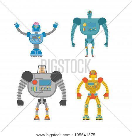 Robots Set . Space Cyborgs. Iron Colored Robots.