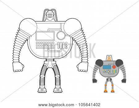 Cyborg Warrior Coloring Book. Man Machine From Outer Space. Mechanical Bionic Robot Future Soldier W