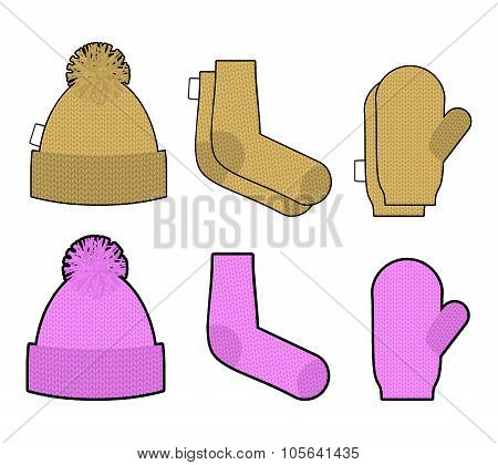 Set Clothes For Cold Weather. Winter Knitted Clothing Accessory. Hat And Socks, Mittens. Warm Clothi