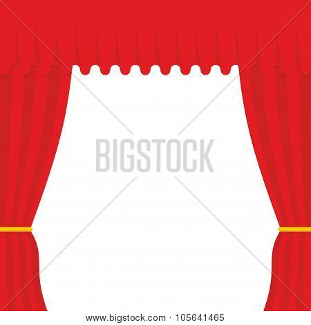 Empty Scene. Red Curtain, Outdoor. Theatre Curtain
