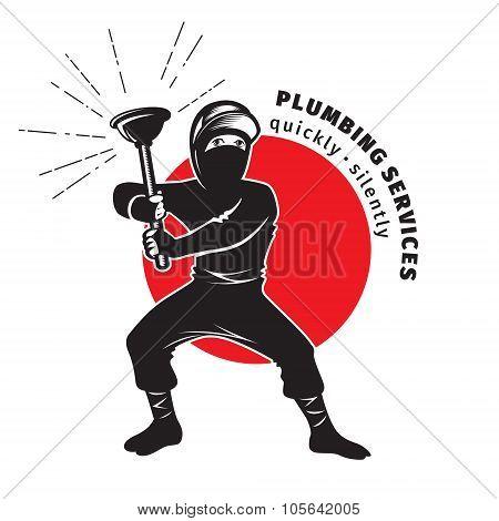Plumber Ninja Holding A Plunger