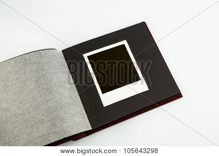 photo album against white background, symbol photo for memories and archiving