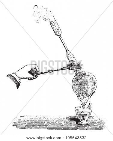 Preparation of balloons filled with sodium sulfate, vintage engraved illustration. Magasin Pittoresque 1867.