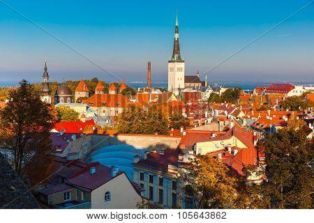 Aerial view old town, Tallinn, Estonia