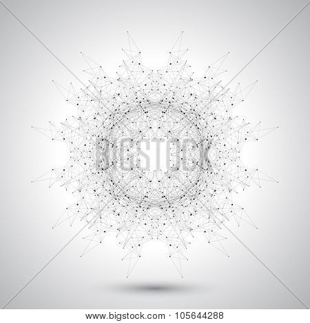Geometric abstract form with connected lines and dots. Futuristic technology design. Vector illustra